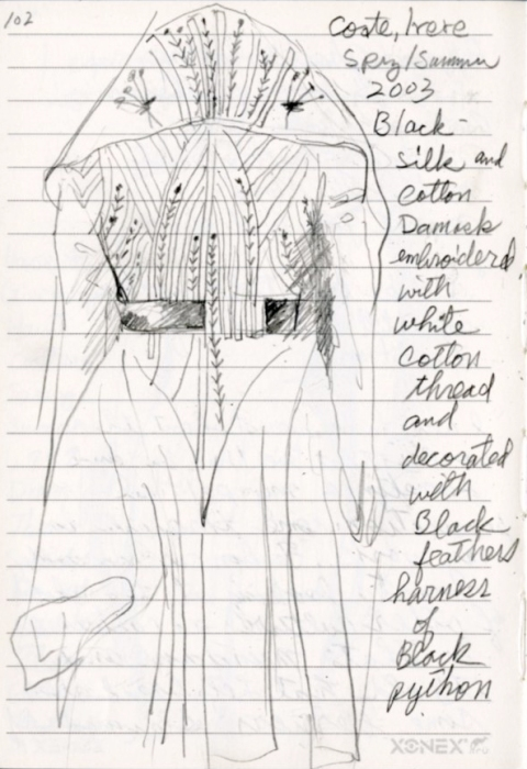Sketch of Alexander McQueen Embroidery
