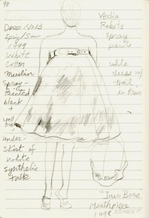 Sketch of Alexander McQueen's Spray Painted Skirt